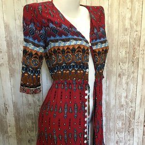 Boho Button Front Maxi Dress Large